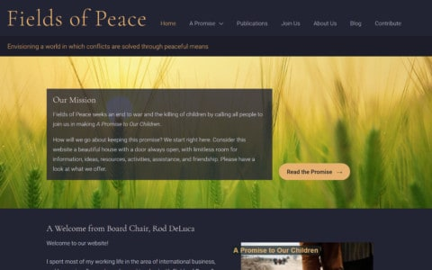 Screenshot of the home page of Fields of Peace. The header is a dark gray with gold lettering. There is a big photo of wheat field in golden light with layered over it a block of text with the mission statement on a dark semi-transparent background. Next to the text is a golden button leading to the heart of the site.