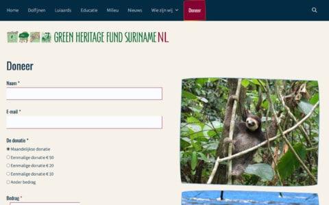 Donatiepagina van de Green Heritage Fund Suriname in Nederland