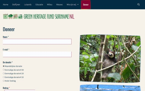 Donation page for the Green Heritage Fund Suriname in the Netherlands