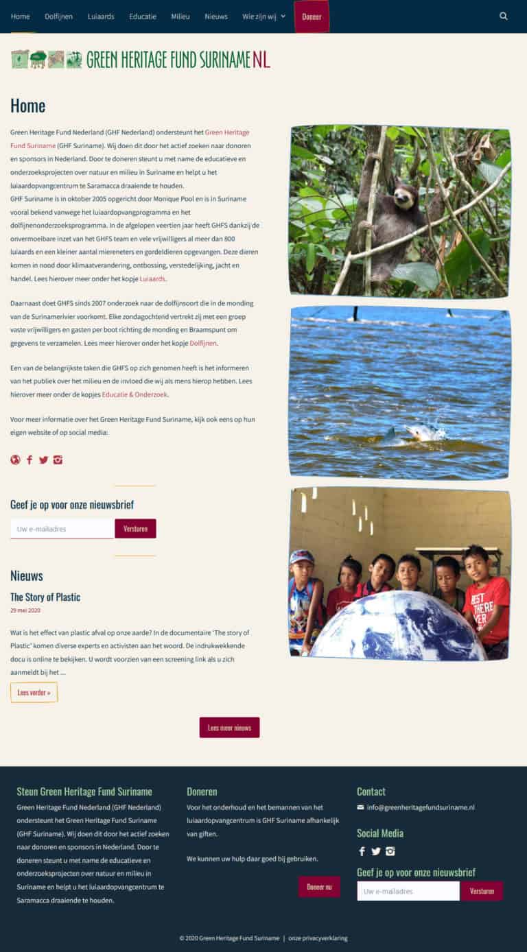 Home page of Green Heritage Fund Suriname in the Netherlands