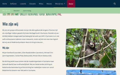 Standaardpagina van de Green Heritage Fund Suriname in Nederland