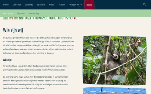 About page for the Green Heritage Fund Suriname in the Netherlands