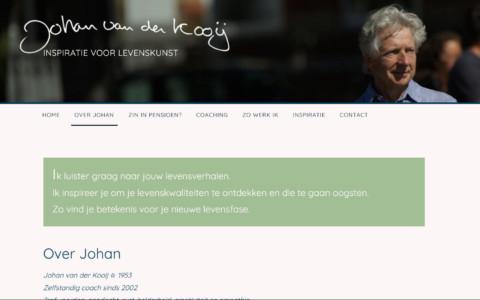 Screenshot van de achtergrondpagina over Johan met een foto van Johan bovenaan en ook weer een blauw vlak met tekst