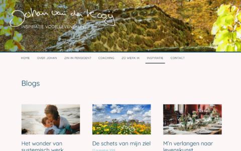 Screenshot van de blog pagina met een rij van 3 blogberichten naast elkaar