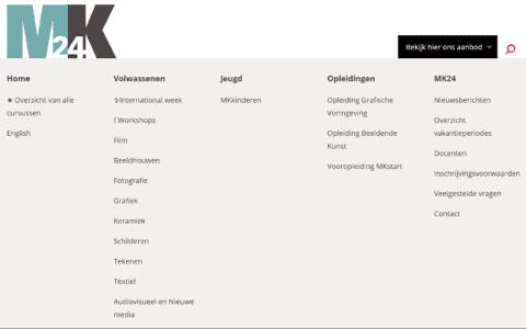 Screenshot van het uitgeklapte megamenu met alle afdelingen zichtbaar
