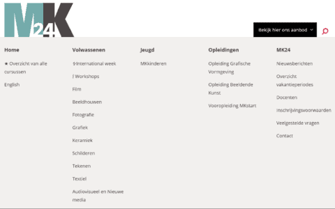 Screenshot of the mega menu on the website open and showing all the school's departments
