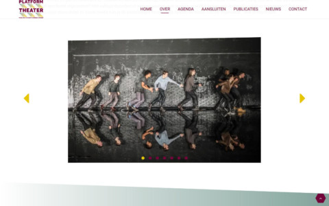 Screenshot of the about page with a slidehow of young people acting. The top of the photo is slanted and the footer of the page is slanted in the opposite direction. The back-to-top button is shaped like a hexagon
