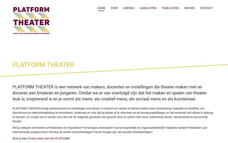 Screenshot of the home page: white background, slanted yellow line seperating the header from the body of the text.