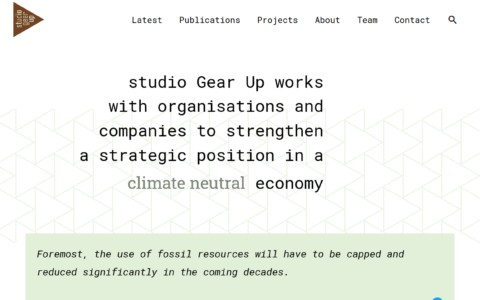 screenshot of studio Gear Up's home page with its different sections, the logo's triangle comes back in buttons and background patterns